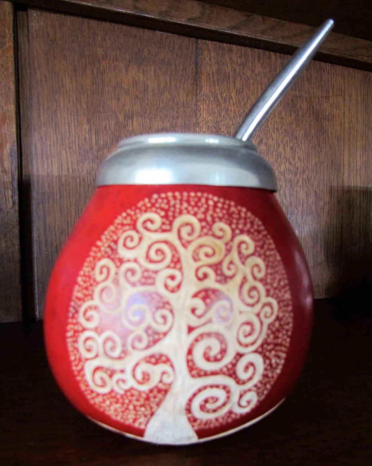 Dyed and Carved Gourd Mate with Bombilla