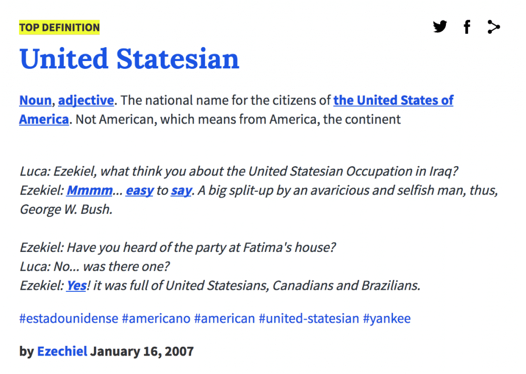 Urban Dictionary Definition: United Statesian