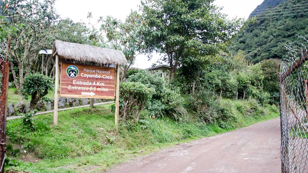 Sign to Cayambe-Coca National Park; Papallacta, Ecuador | ©Angela Drake