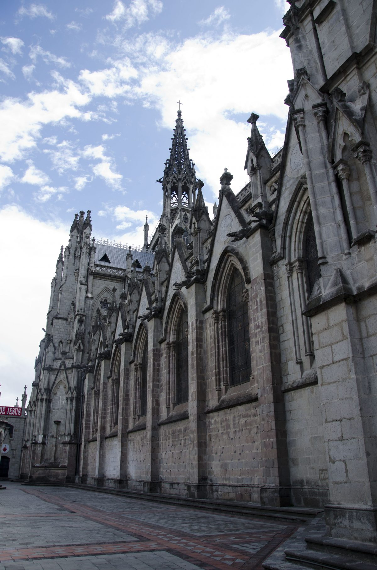The outside stonework including the gargoyles, all in the images of animals from Ecuador.