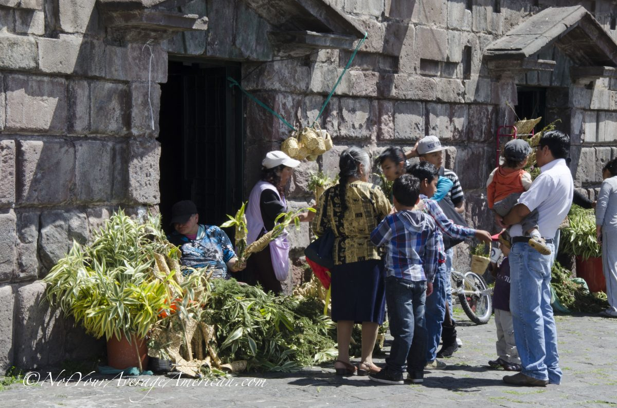Purchasing bouquets for Palm Sunday, San Francisco Plaza, Quito, Ecuador | ©Angela Drake
