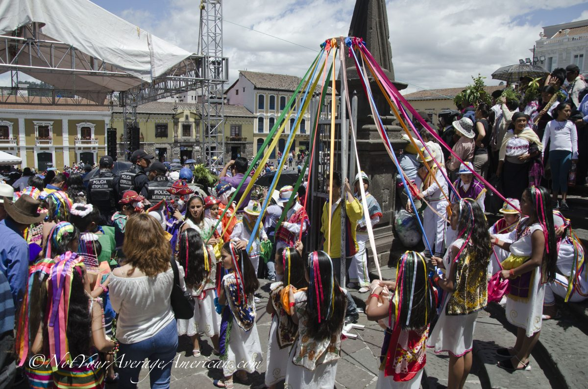 Children preparing to go on stage and dance with ribbons; Quito, Ecuador | ©Angela Drake