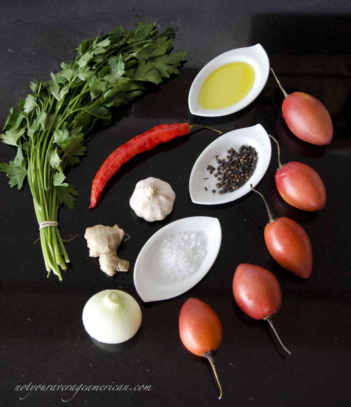 Ingredients for Ecuadorian Hot Sauce with Ginger