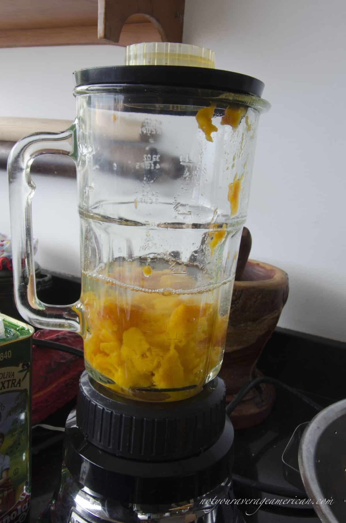 Tree Tomatoes and Water in Blender, Ecuadorian Hot Sauce with Ginger