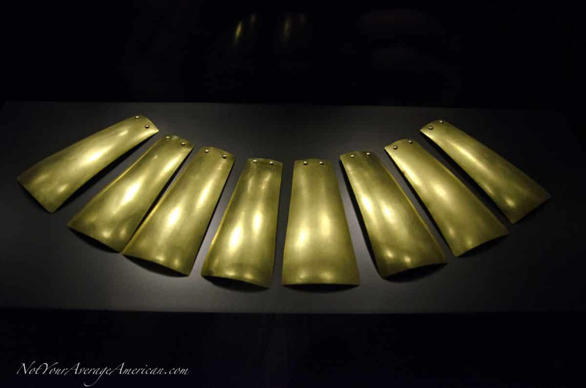 A necklace of polished gold; Museo Nacional, Casa de la Cultura, Quito, Ecuador | © Angela Drake