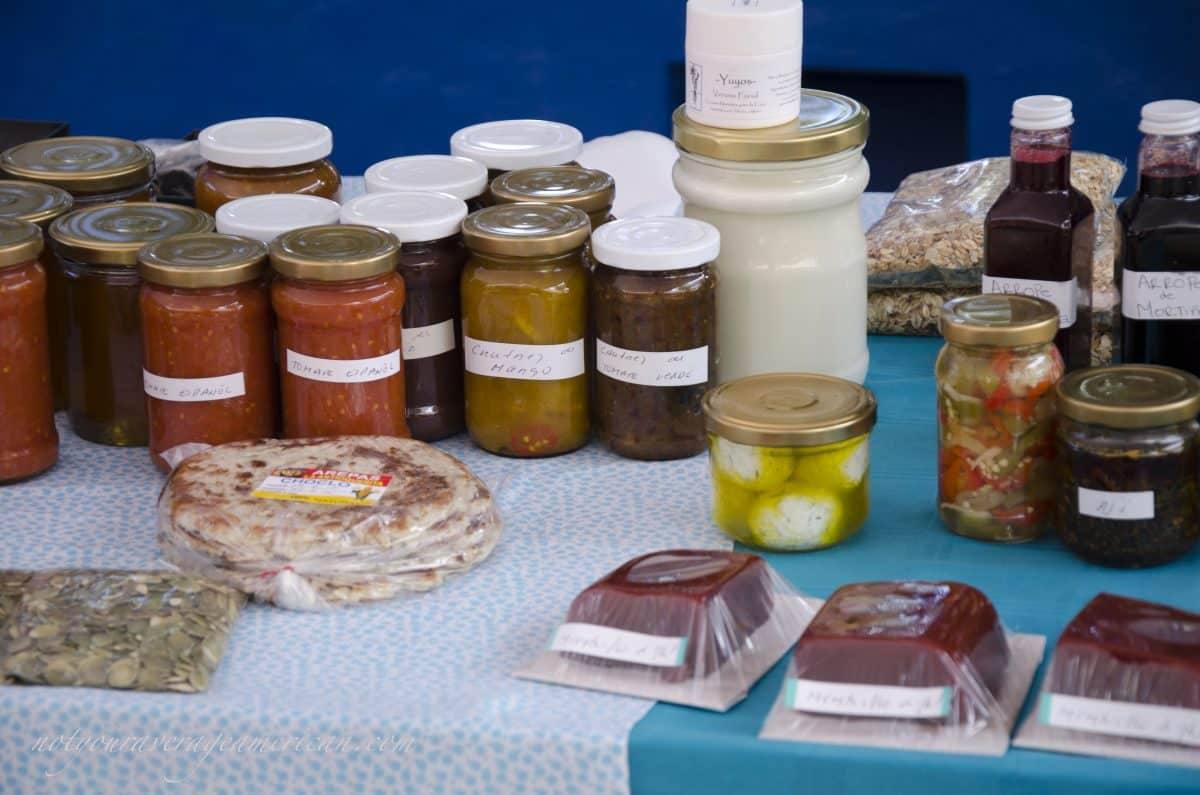 Finca Chaupi Molino also sells jams, jellies, sauces, fresh cheese, and yogurt, and more, Mercado La Esquina, Cumbaya, Ecuador