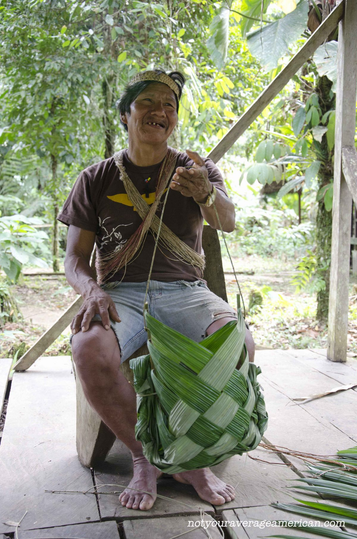 Our Huaorani guide, Bai, taught us how to make a basket that could be used for carrying freshly hunted meat or just harvested plants from the jungle | ©Angela Drake