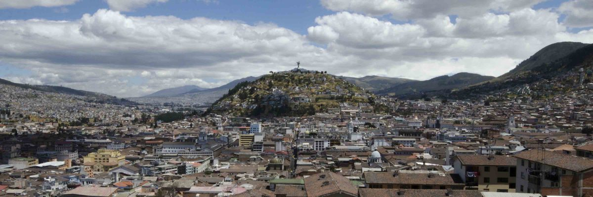 Quito with view of the Panecillo, from La Basilica del Voto Nacional