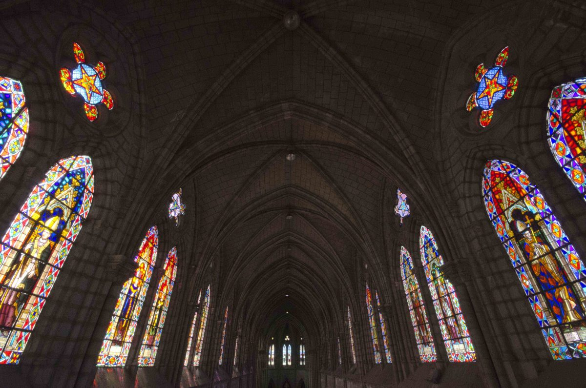 Stained glass windows from the choir stall of the Quito Basilica | ©Angela Drake