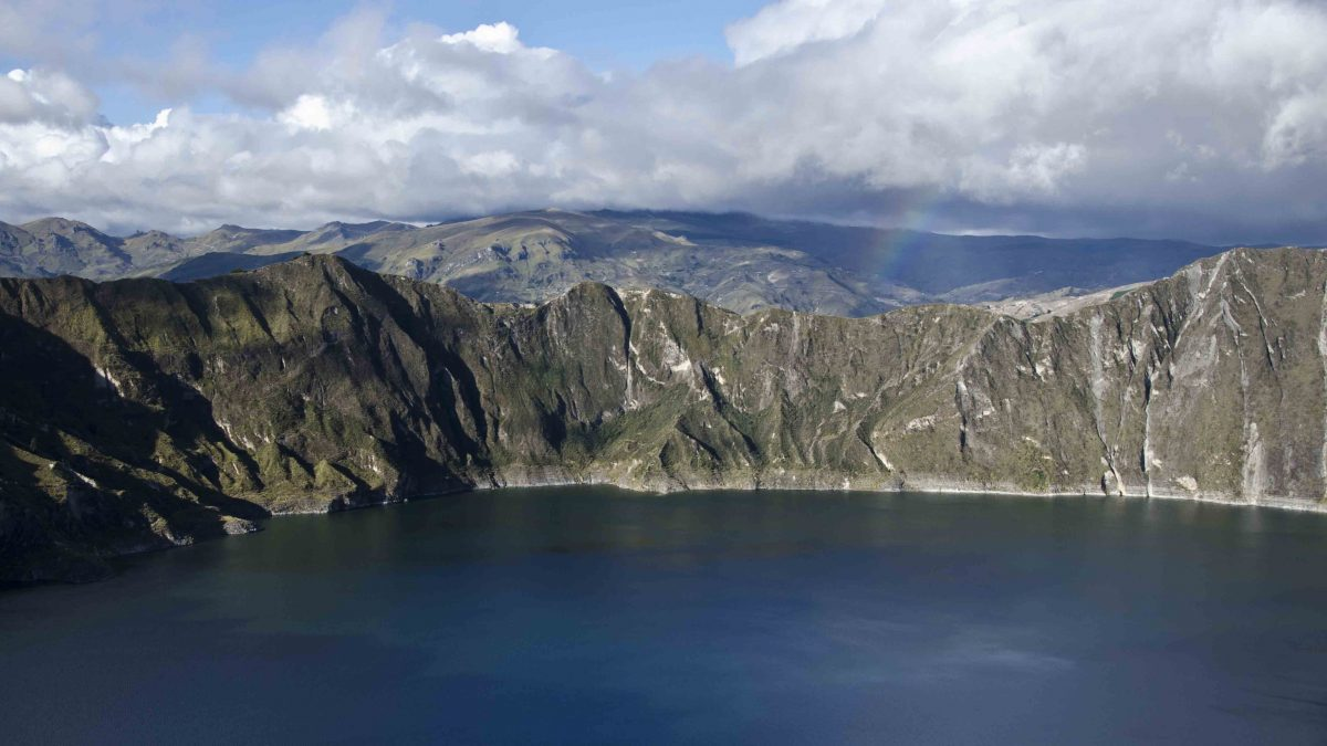 Rainbow at the end of the trail, Hiking Quilotoa Crater Rim