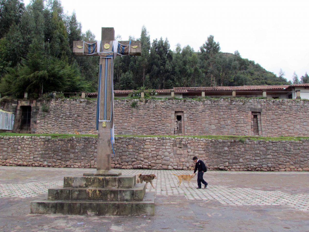 Walking to school through Plaza San Cristobal, Cusco, Peru   ©Angela Drake