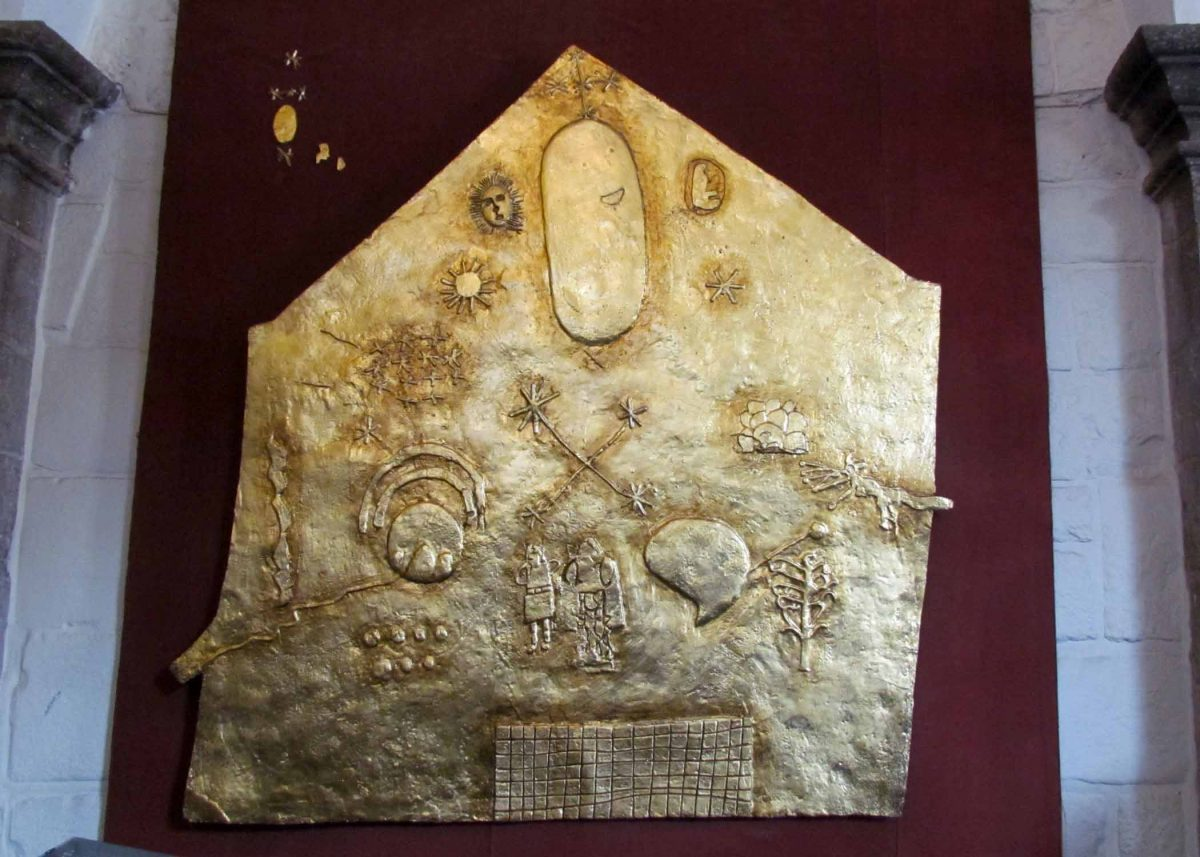 Replica of Incan plaque found at the Convent of Santo Domingo; Cusco, Peru   ©Angela Drake