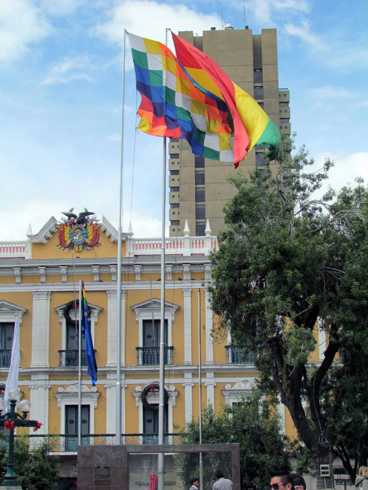 Flags flying at the Palacio de Gobierno, La Paz, Bolivia | ©Angela Drake