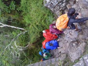 Climbing steep steps