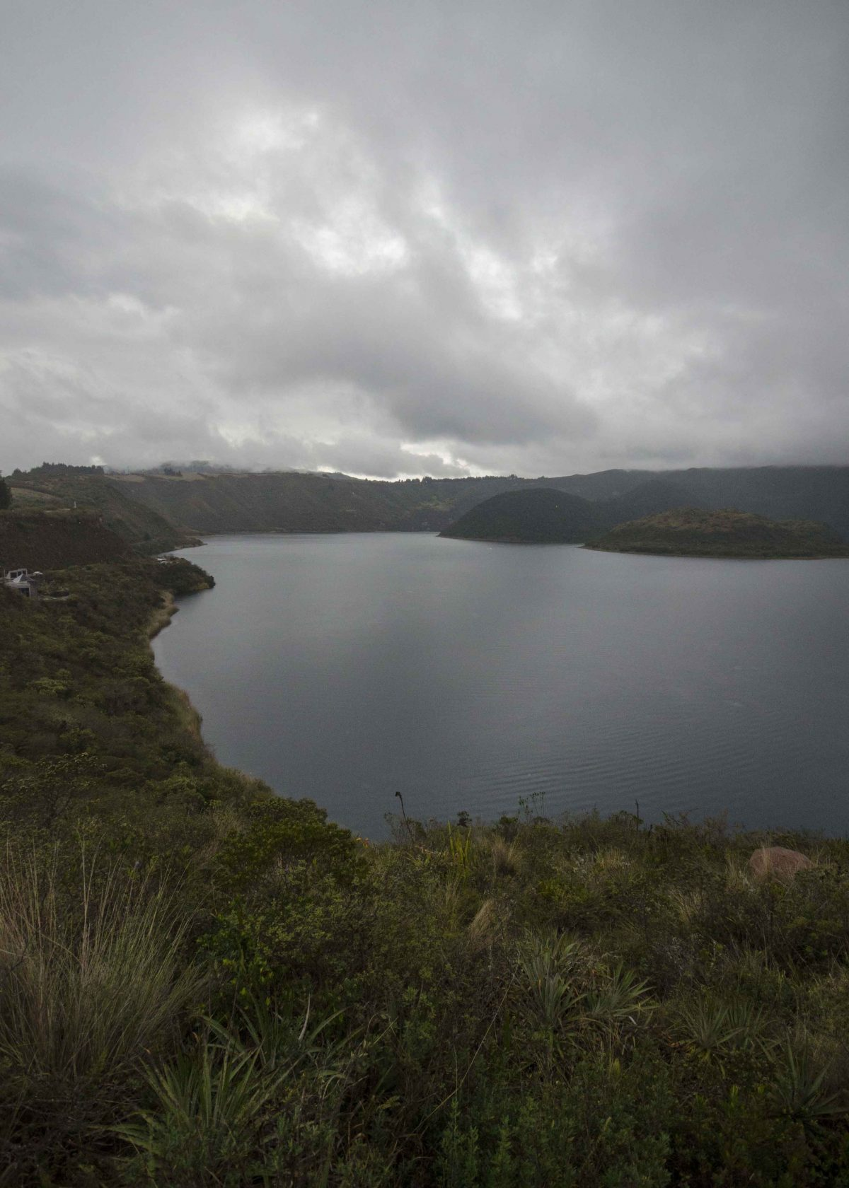 Rain is an everyday threat in the Andes, Laguna Cuicocha, Ecuador