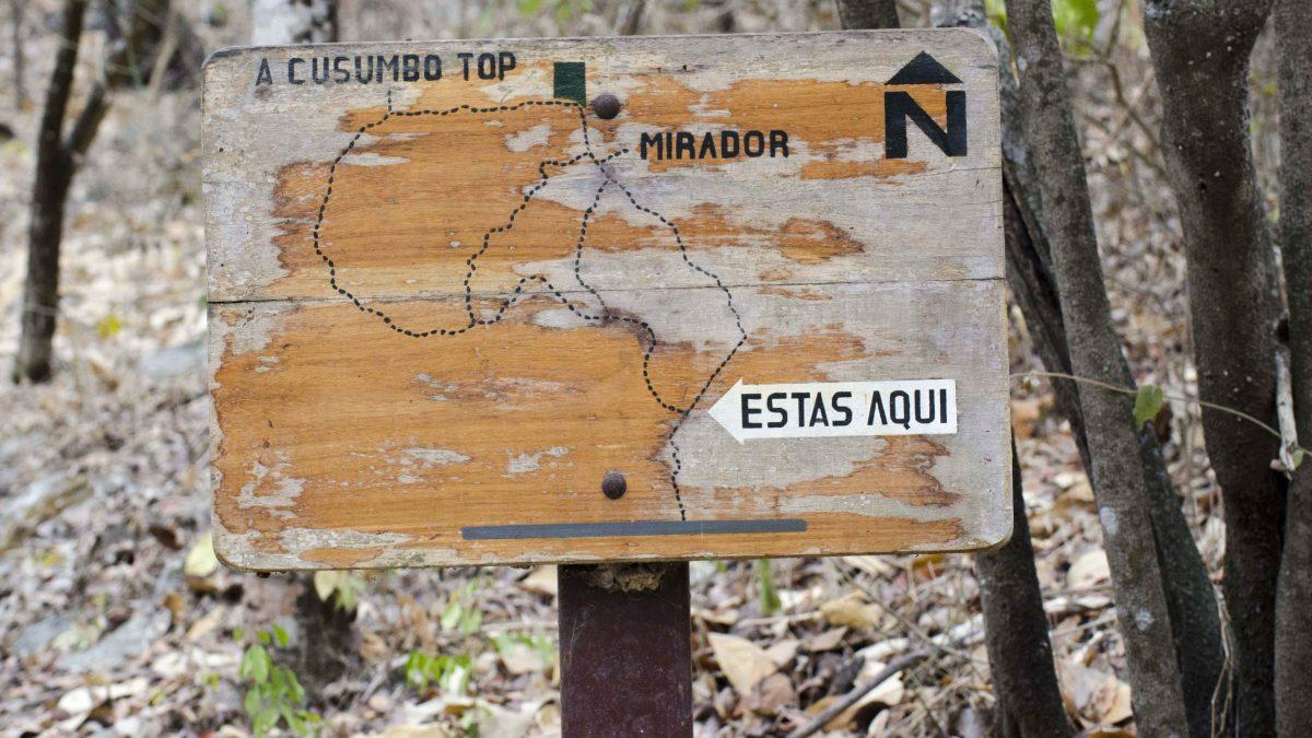 Trail Sign, Bosque Cerro Blanco, Guayaquil, Ecuador