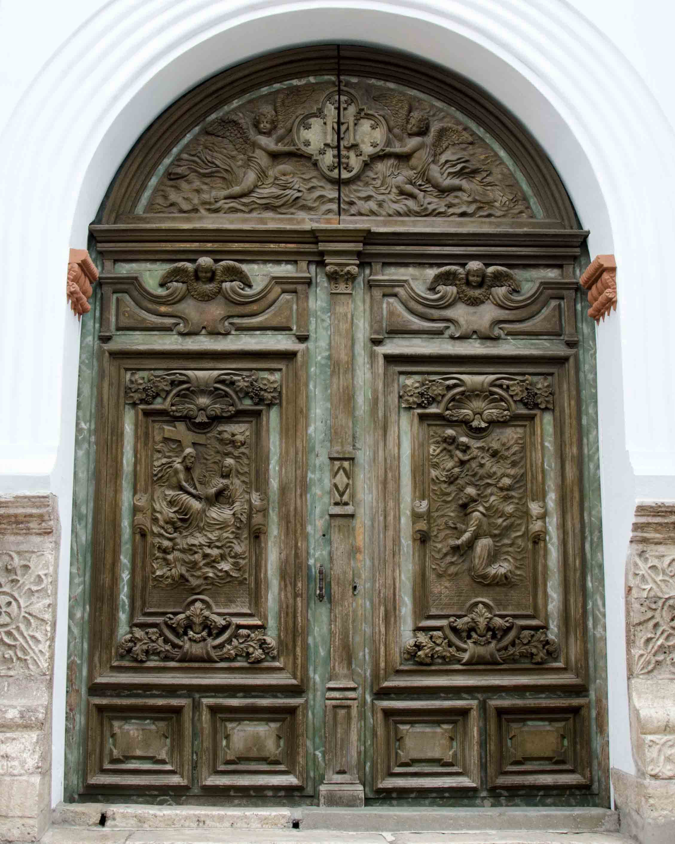 Carved wooden doors, Cuenca, Ecuador
