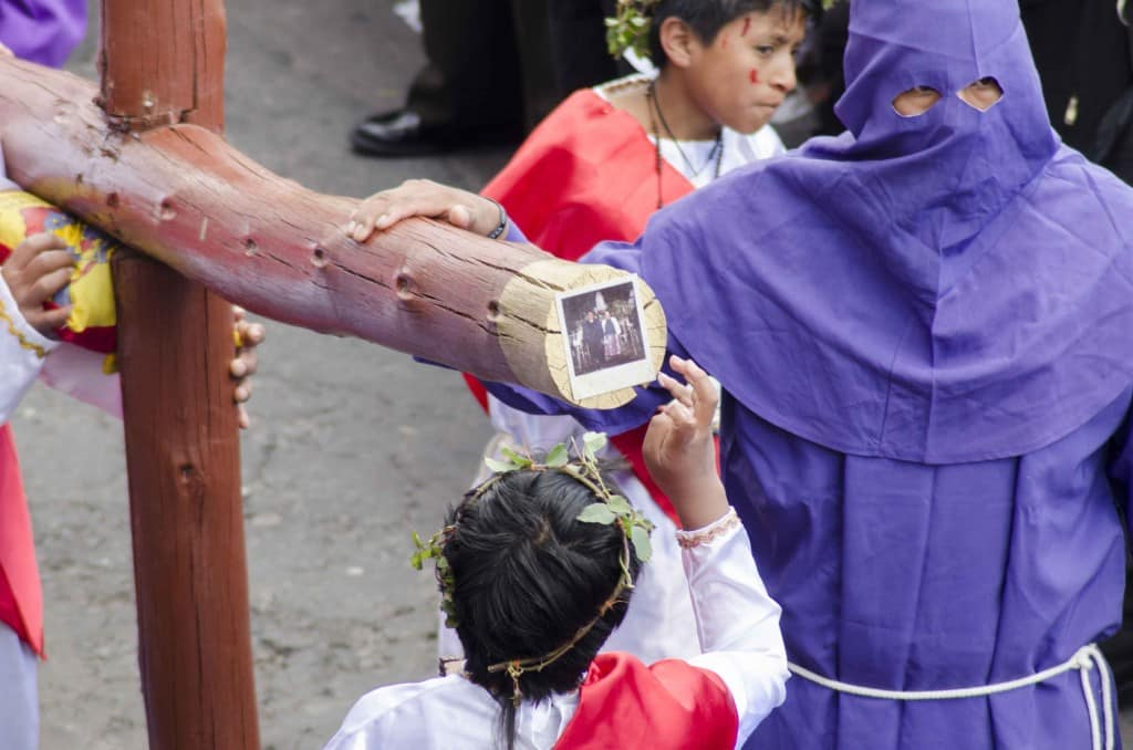 Attaching a Family Photo to the Cross