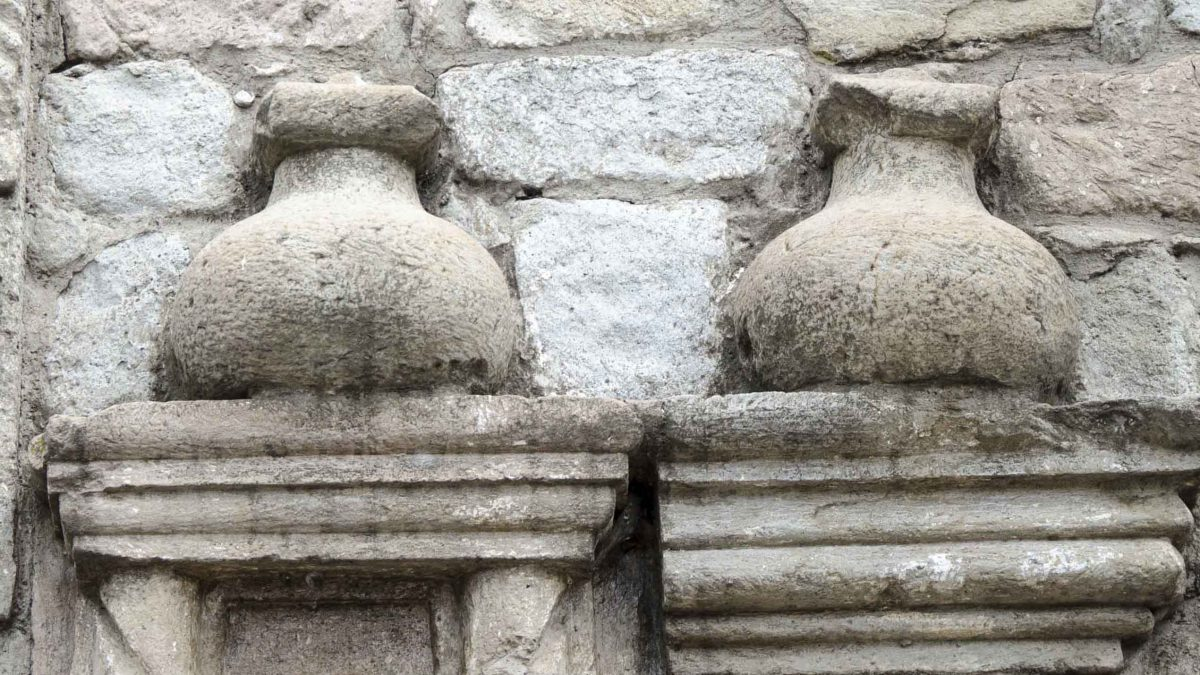 Pottery Jars in Stonework on the oldest church in Ecuador, Iglesia del Balbanera, Colta | © Angela Drake