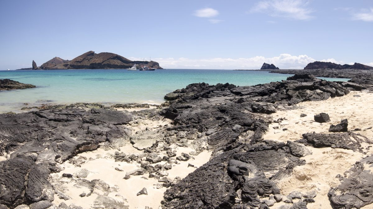 View of Bartolome Island from Santiago Island, the Galapagos.