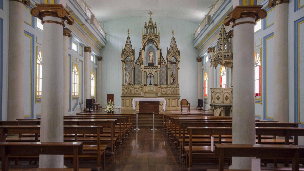Chapel in the Hospicio del Corazón de Jesús, Parque Histórico, Guayaquil, Ecuador.