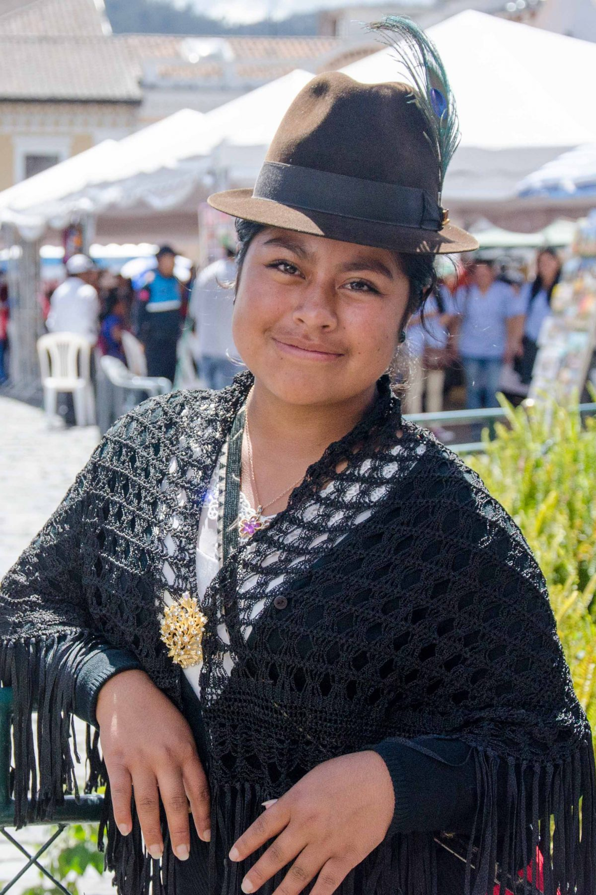 Vanessa is a vendor who sells shawls in the Historic Center of Quito, Ecuador