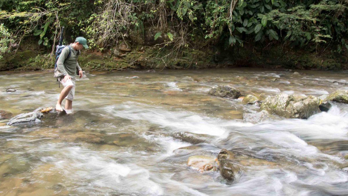 Crossing the Rio Chirapi, Pacto, Ecuador