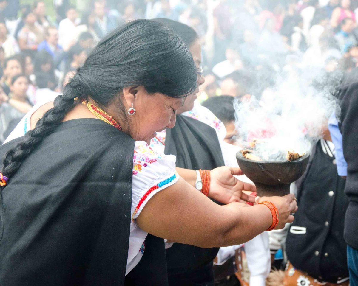 Sacred Cleansing in Smoke, School Children Take of the Plaza, Cotacachi, Ecuador | ©Angela Drake