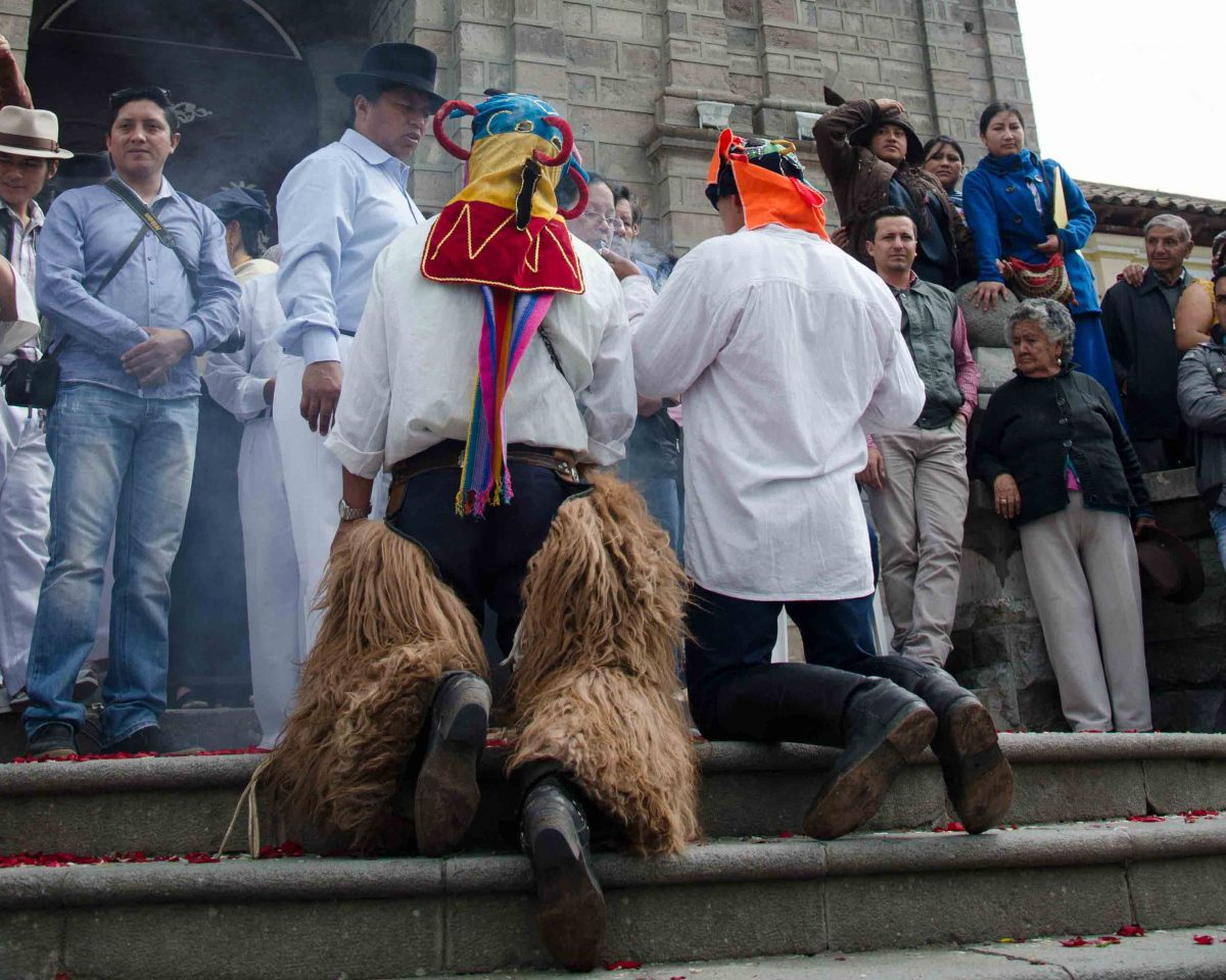 Blessing on the Church Steps, School Children Take of the Plaza, Cotacachi, Ecuador