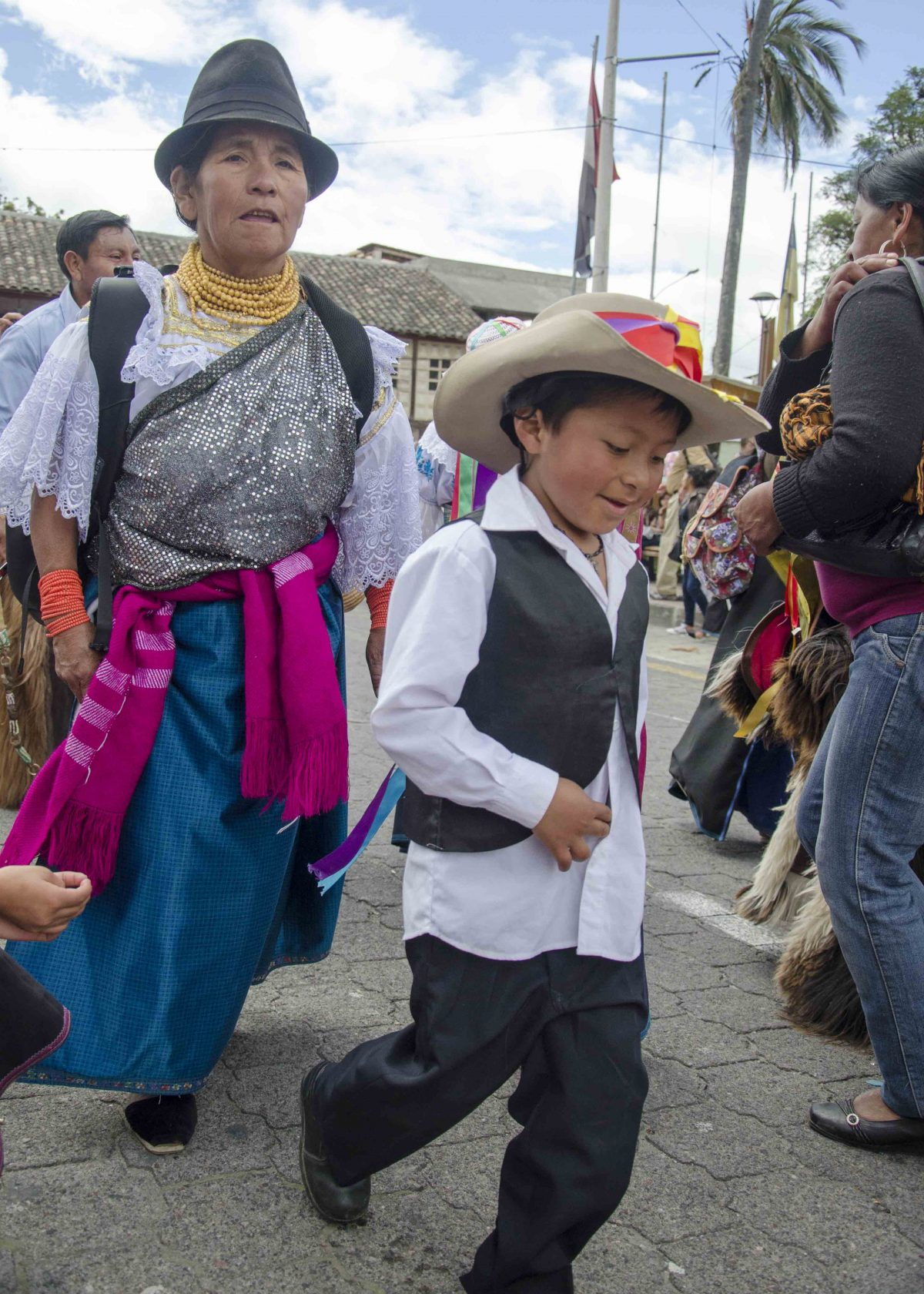 Dancers, Taking of the Plaza, School Children Day, Cotacachi, Ecuador