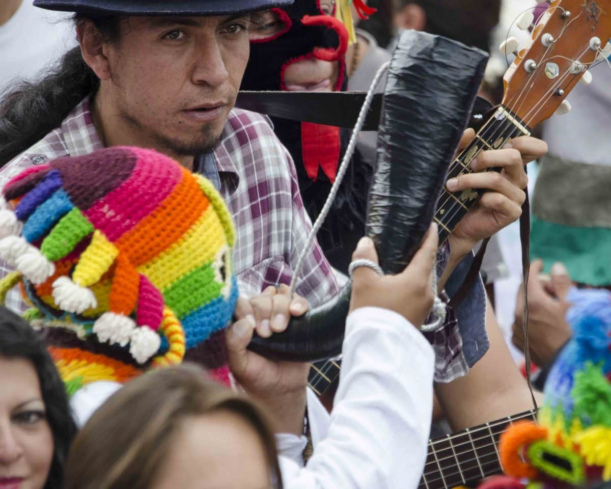 Horns and Guitar, Inti Raymi, Parade of Schools, Cotachi, Ecuador