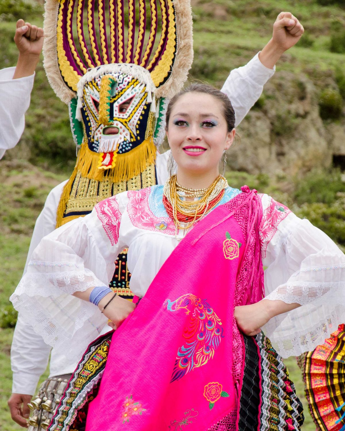 Dancer at Mushak Nina Celebration, Cochasquí, Ecuador | ©Angela Drake