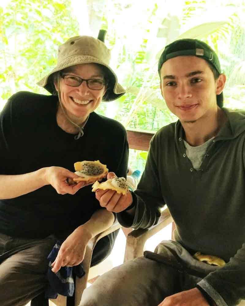 Enjoying pitahaya (dragon fruit) after a long hike | @Angela Drake