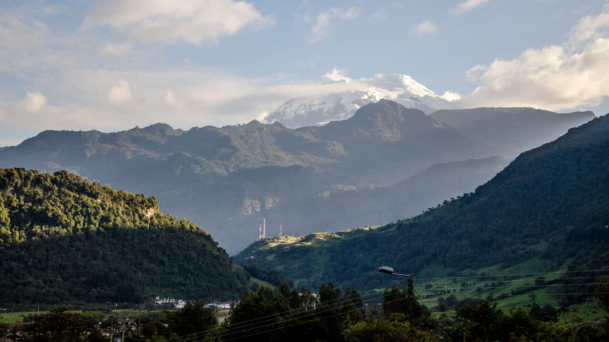 The Volcano Antisana photographed from La Cruz at Termas Papallacta, Ecuador | January 2014 | © Angela Drake