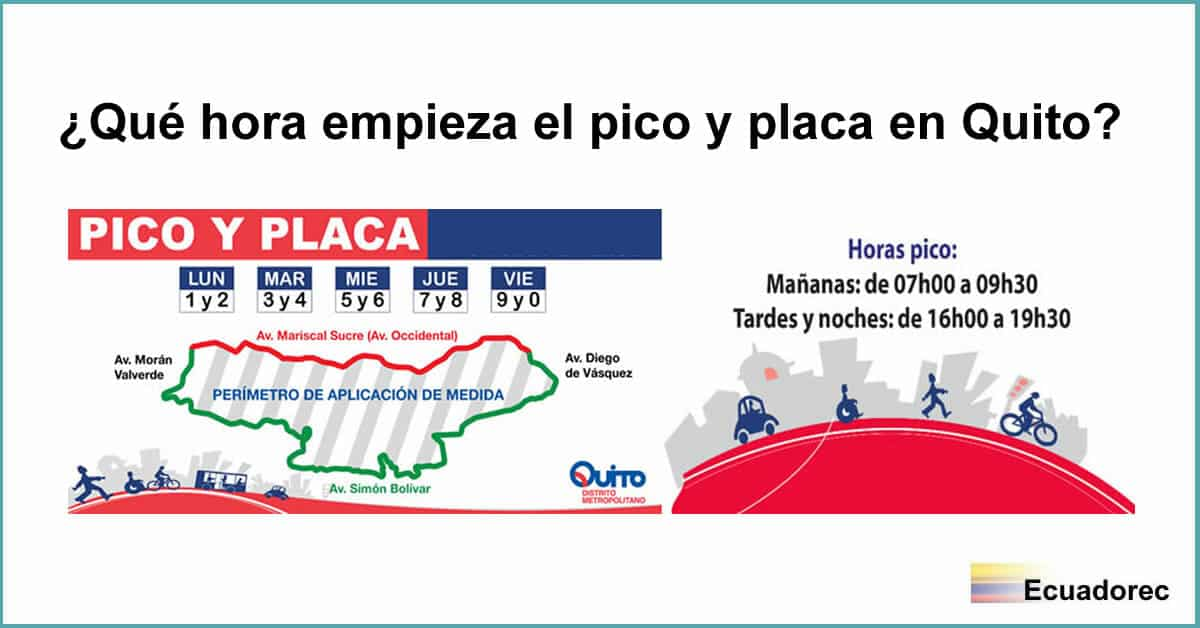 Hours and Prohibitions for Pico y Placa in Quito, Ecuador
