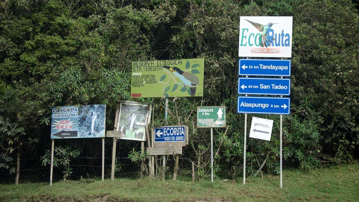 Signs for the Ruta del Colibrí in Nono, Ecuador| ©Angela Drake