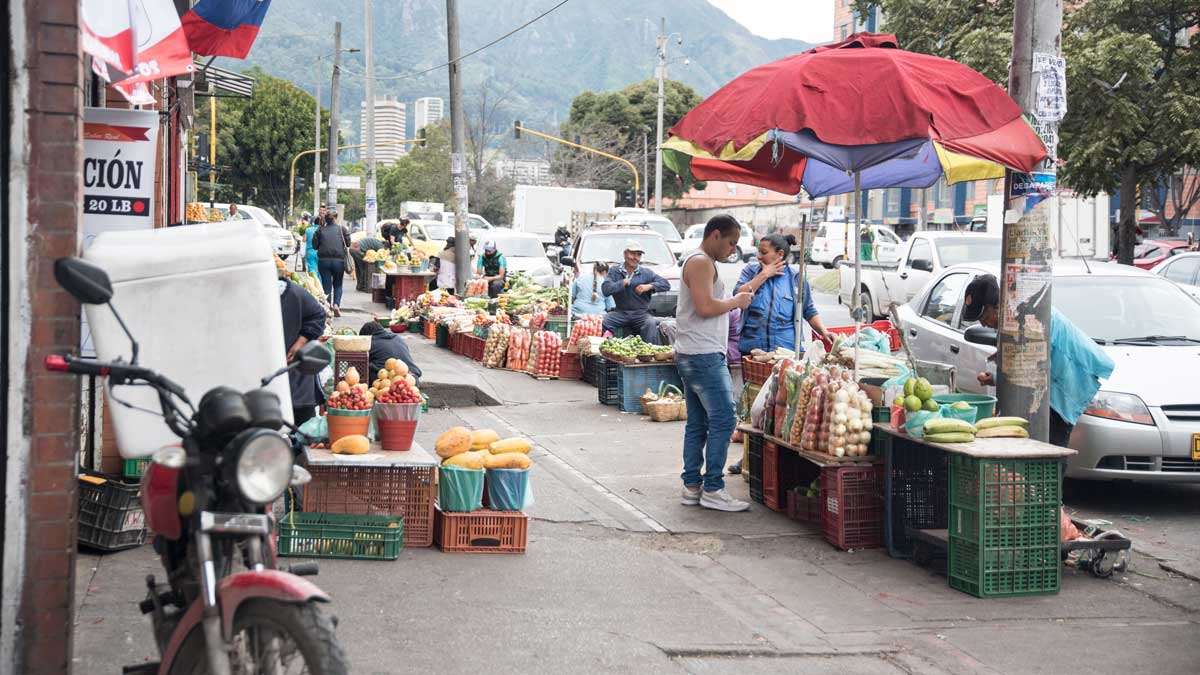 Outdoors at the Plaza Mercado de Paloquemao | ©Angela Drake