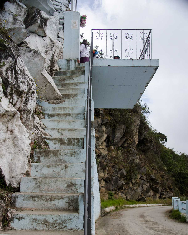 Steps up to La Gruta del Virgen de Alambí, Ecuador | ©Angela Drake