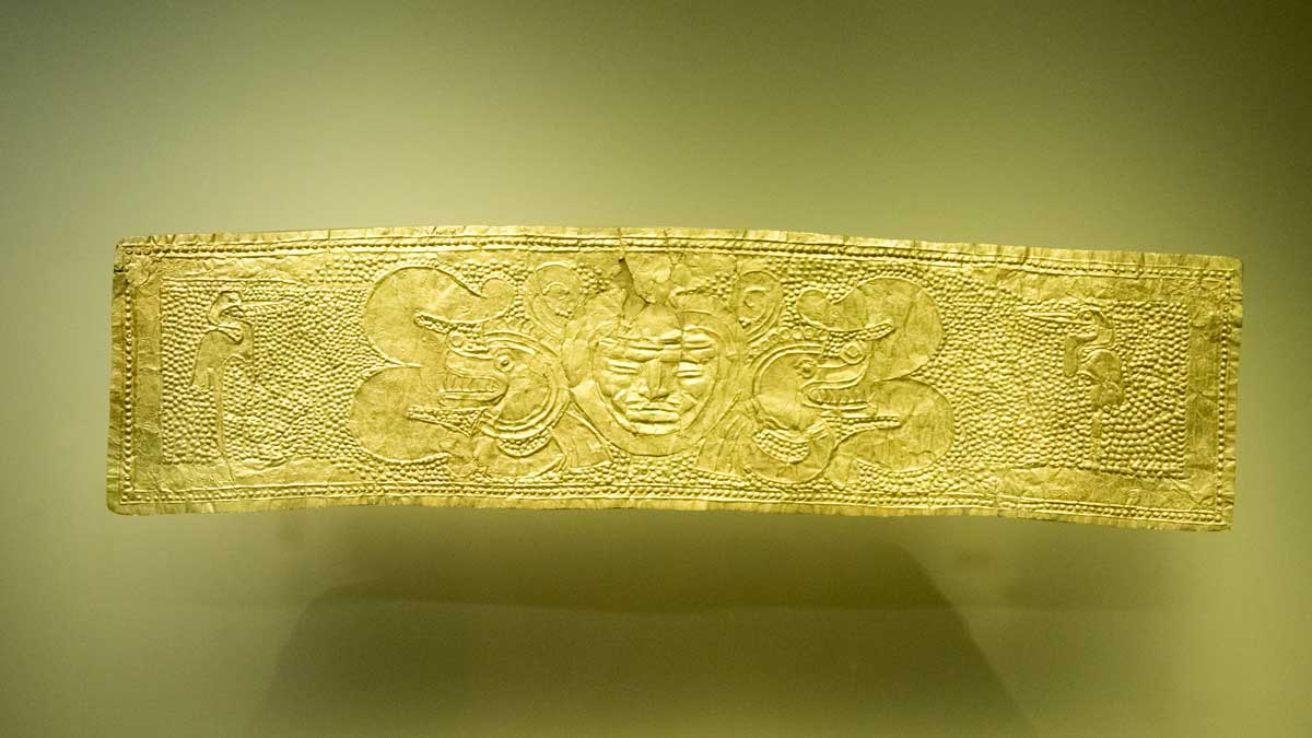 Gold Band with Snakes and Sun Image | Gold Museum Bogota | ©Angela Drake