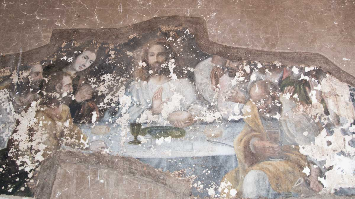Murals of the Last Supper in the Courtyard, San Diego Convent, Quito   ©Angela Drake