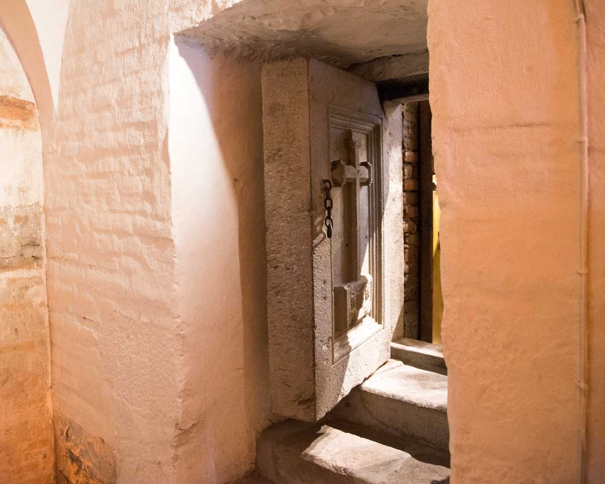 Entrance to The Ossuary, San Diego Convent, Quito   ©Angela Drake