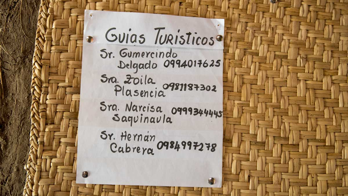 Names of Local Guides and their phone numbers, Chobshi Museum, Sigsig, Ecuador