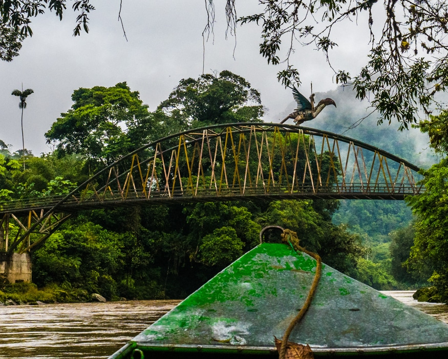 Just upstream from the Cabanas Yankuam, this bridge celebrates a local Shuar legend. | ©Ernest Scott Drake