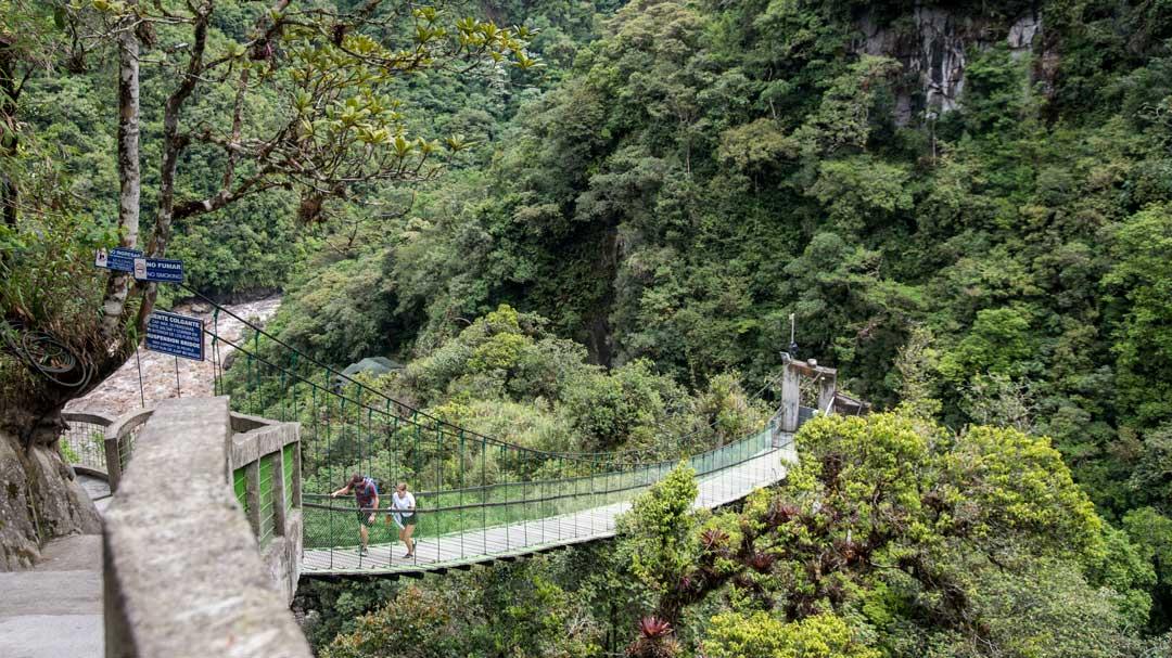 The Suspension Bridge at the Isla del Pailon Trail, Rio Verde, Ecuador | ©Angela Drake