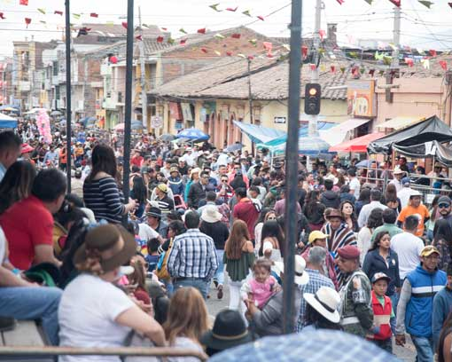 Crowds before the Mama Negra Parade, Latacunga, Ecuador | ©Angela Drake