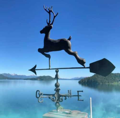Deer Weathervane in foreground; Lago Nahuel Huapi in background