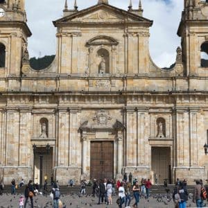 Front of the main cathedral in Bogota, Colombia