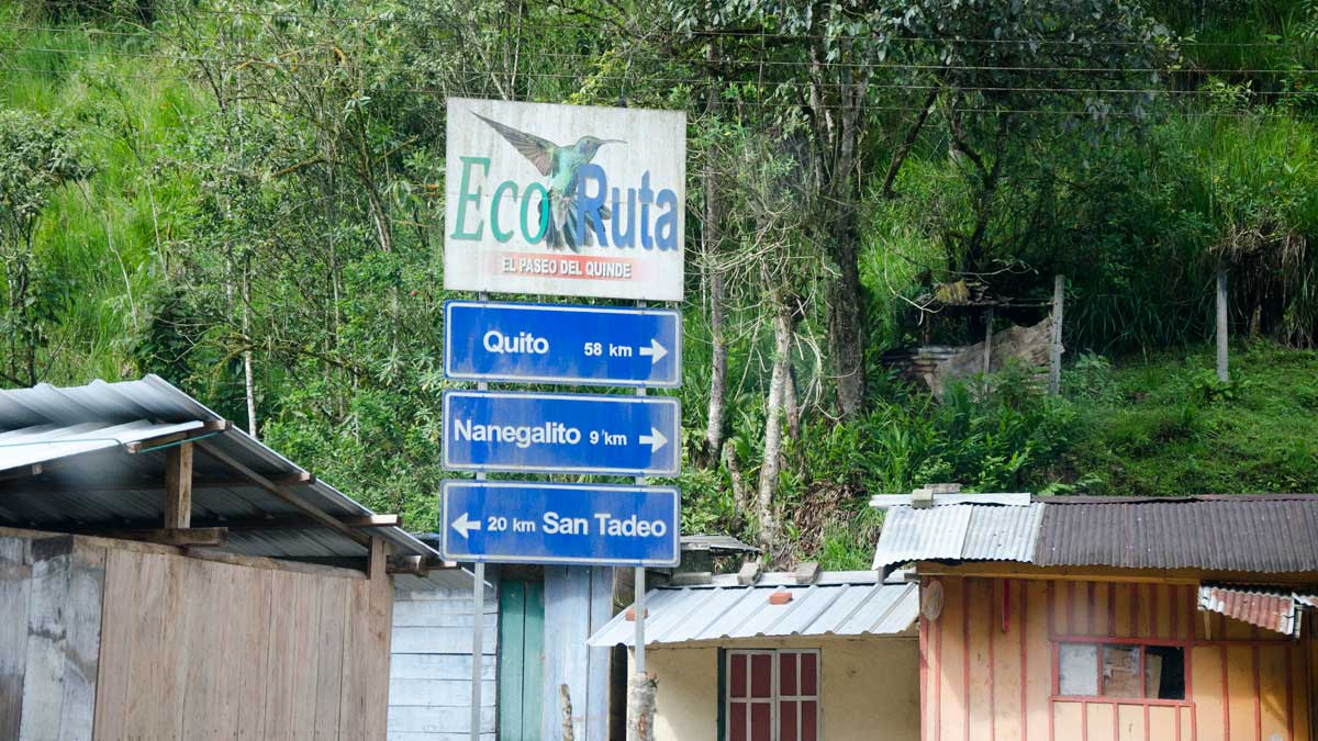 Signs for the Paseo del Quinde in Tandayapa, Ecuador| ©Angela Drake